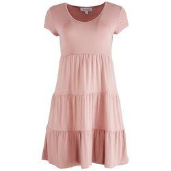 Pink Rose Juniors Little Flowers Scoop Neckline Sun Dress