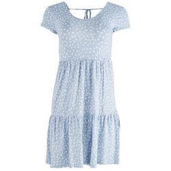 Pink Rose Juniors Solid Tshirt Dress Tiered