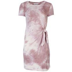 Pink Rose Juniors Waist Knot Tye Dye Dress