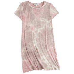 Pink Rose Juniors Tie-Dye T-Shirt Dress