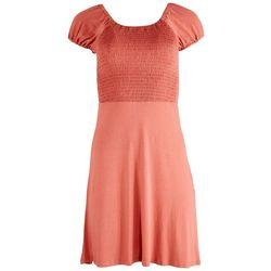 Derek Heart Juniors Solid Smocked BabyDoll Dress