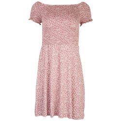 Pink Rose Juniors Floral Smocked Off the Shoulder Dress
