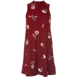 Pink Rose Juniors Mock Neck Large Floral Dress