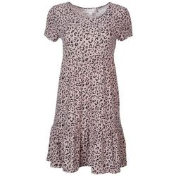 Pink Rose Juniors Tiered Baby Doll Leopard Dress
