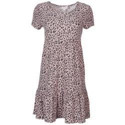 Juniors Tiered Baby Doll Leopard Dress