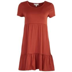 Juniors Tiered Solid Baby Doll Dress