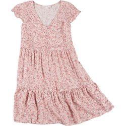 Pink Rose Juniors Floral Cap Sleeve Button Dress