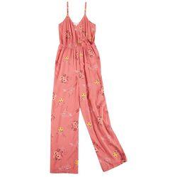 Pink Rose Juniors Floral Sleeveless Jumpsuit