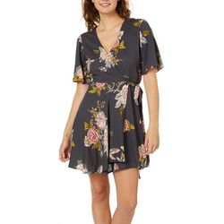 Angie Juniors Floral Slit Sleeve Wrap Dress