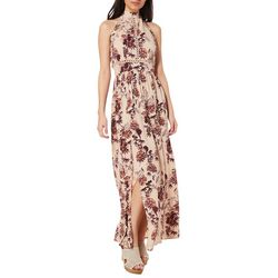 Angie Juniors Boho Floral High Neck Maxi Dress