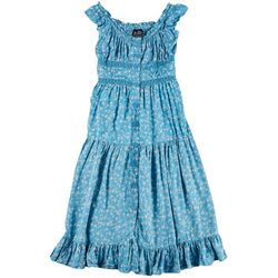 Angie Juniors Flowery Ruffle Button Dress