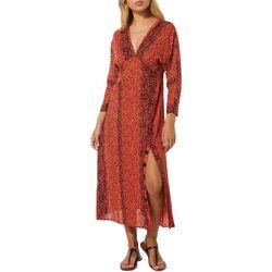 Angie Juniors Animal Print V-Neck Short Sleeve Dress