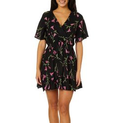 Angie Juniors Faux Wrap Floral Short Sleeve Dress