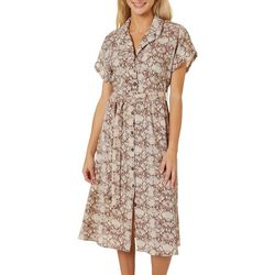 Angie Juniors Snakeskin Print Belted Short Sleeve Dress