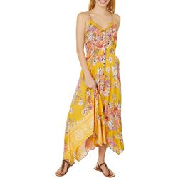 Juniors Floral Print Handkerchief Hem Sundress