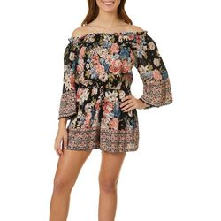 Angie Juniors Floral Off The Shoulder Elastic Waist Romper