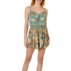 Angie Juniors Floral Print Tie Back Romper