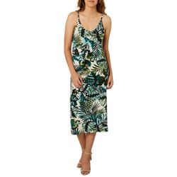 Angie Juniors Tropical Palm Print Sleeveless Sundress
