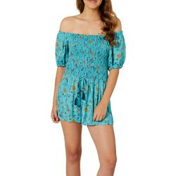 Angie Juniors Floral Smokced Bodice Off The Should