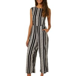 Angie Juniors Stripe Lace Up Back Jumpsuit