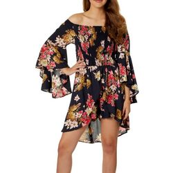 Angie Juniors Floral Off The Shoulder Walkthrough Romper