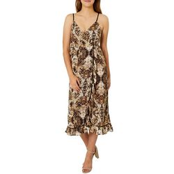 Angie Juniors Snake Print Ruffle Wrap Dress