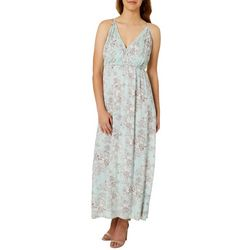 Angie Juniors Floral Surplice Sleeveless Maxi Dress