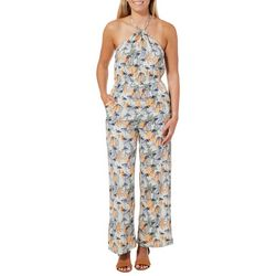 Angie Juniors Tropical Flamingo Halter Jumpsuit