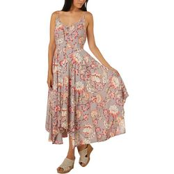 Angie Juniors Painted Floral Print Handkerchief Hem Dress