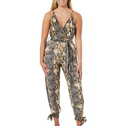 Angie Juniors Snake Skin Print Faux-Wrap Crop Jumpsuit