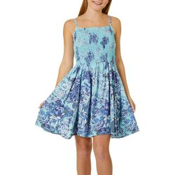 Juniors Smocked Bodice Floral Print Sundress