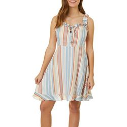 Angie Juniors Stripes & Ruffles Dress