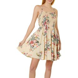 Juniors Floral Print Smocked Bodice Dress