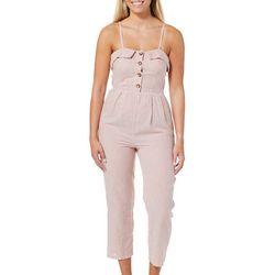 Angie Juniors Pinstripe Print Button Jumpsuit