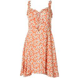 Juniors Ruffle Ditsy Floral Print Dress