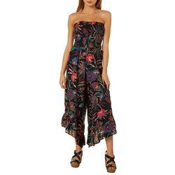 Angie Juniors Floral Print Wide Leg Detail Jumpsuit