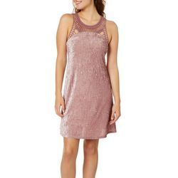 Angie Juniors Crochet Velvet Sleeveless Dress