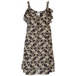 Juniors Floral Print Dress With Ruffle Sleeves