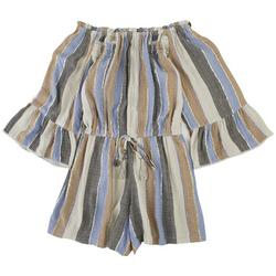 Juniors Metallic Striped Romper With Long Sleeves