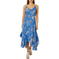 Angie Juniors Wildflower Print Handkerchief Hem Dress