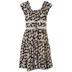 Angie Juniors Flowery Ruffle Dress