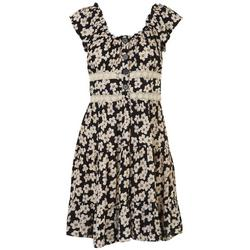 Juniors Flowery Ruffle Dress