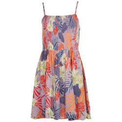 Juniors Smocked Bodice Swirl Dress