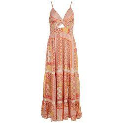 Angie Juniors Twist Front Scarf Print Maxi Dress