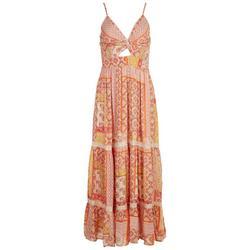 Juniors Twist Front Scarf Print Maxi Dress