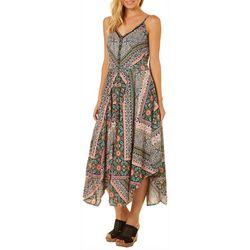 Angie Juniors Patchwork Print Handkerchief Hem Dress