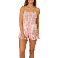 Angie Juniors Plaid Smocked Bodice Strapless Romper