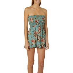 Angie Juniors Floral Smocked Bodice Strapless Romper