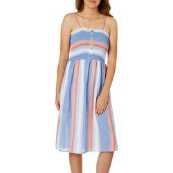 Angie Juniors Striped Smocked Bodice Sleeveless Dress