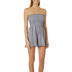 Angie Juniors Striped Smocked Bodice Strapless Romper